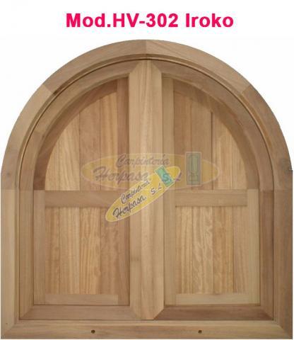 ventana de medio punto en madera de iroko