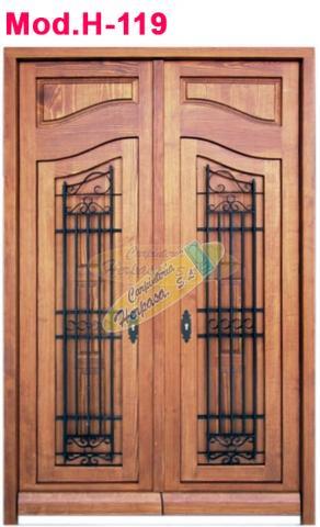 Puerta valenciana en 2 hojas con rejas Mod. H-119