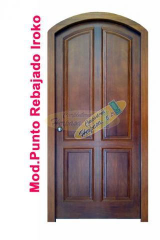 puerta de 4 plafones punto rebajado iroko