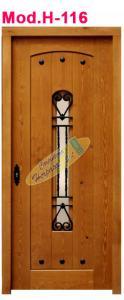 puerta exterior madera rejilla medio punto