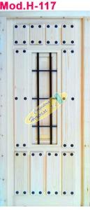 Puerta jardinera de tablas pino con reja Mod. H-117