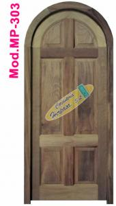 puerta exterior madera iroko medio punto